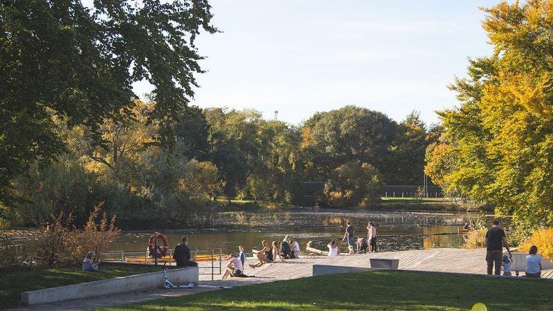 Der Inselpark in Wilhelmsburg im Herbst