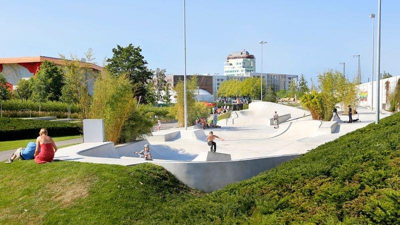 Die Skatearena im Inselpark Wilhelmsburg