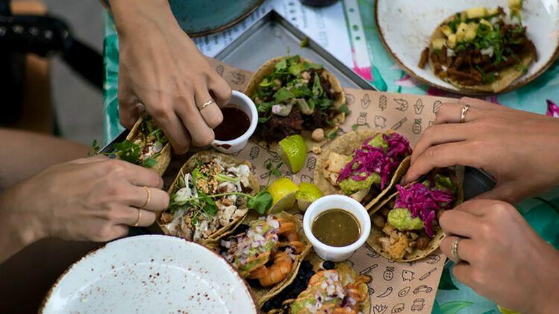 Tacos im Restaurant Mexiko Strasse