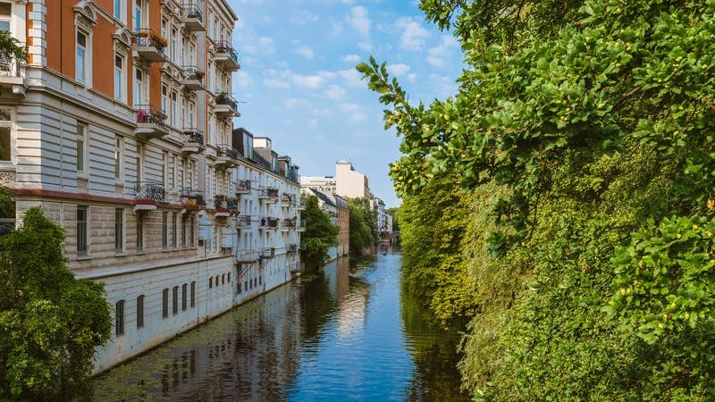 Blick auf Kanal in Eppendorf