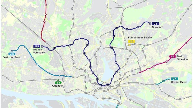 Streckenführung Hamburg U5