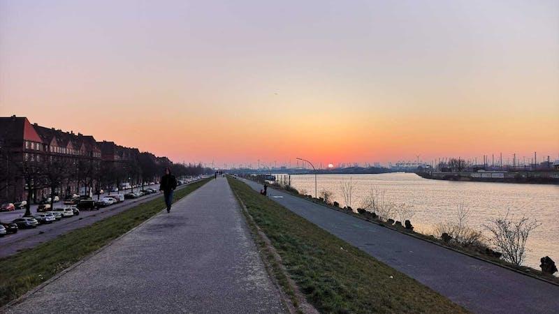 Deich Veddel Sonnenuntergang