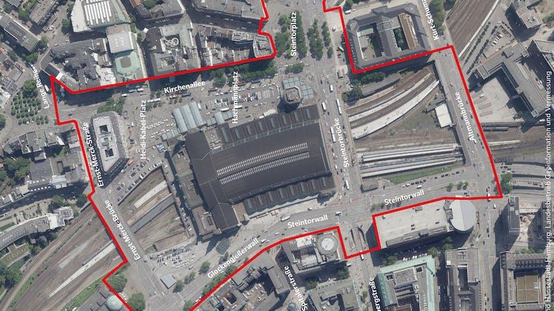 Luftbild Hamburg Hauptbahnhof mit Namen der Straßen und Plätze