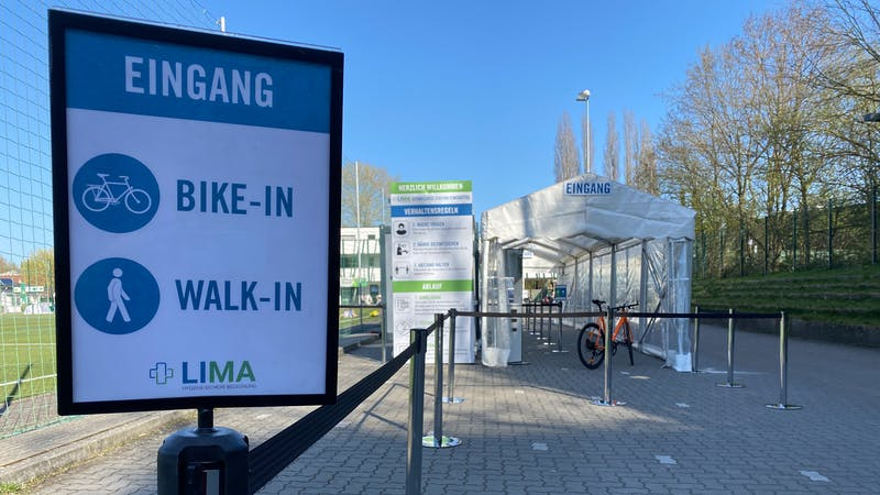 Corona-Testzentrum in Eimsbüttel mit Bike-in