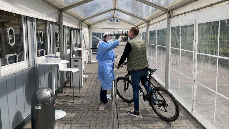 Corona-Test mit dem Fahrrad
