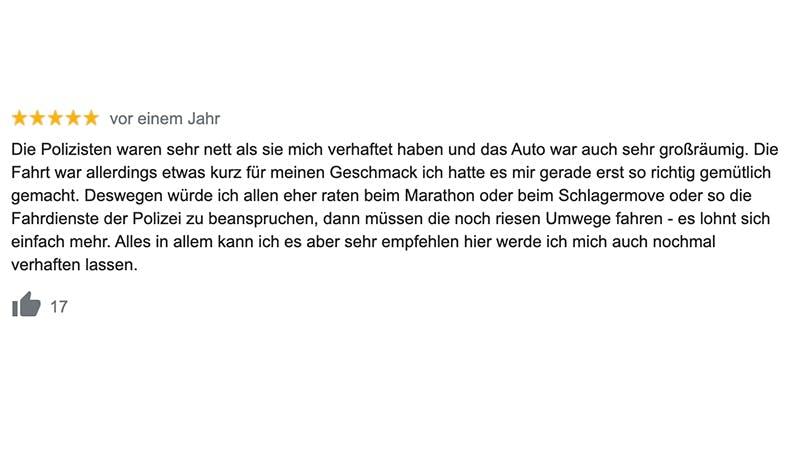 Google Rezension Davidwache St. Pauli